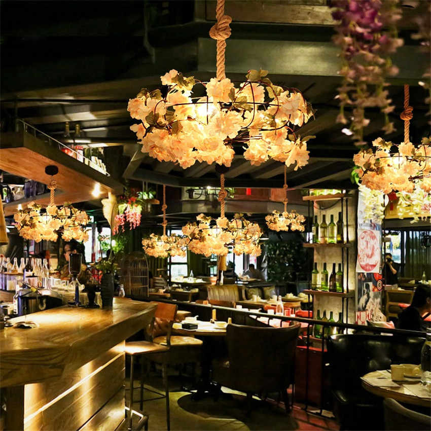 Винтаж Творческий железа конопли веревочный подвесной светильник светодиодный промышленных искусственные растения висит свет Лофт Декор Освещение для обеденной
