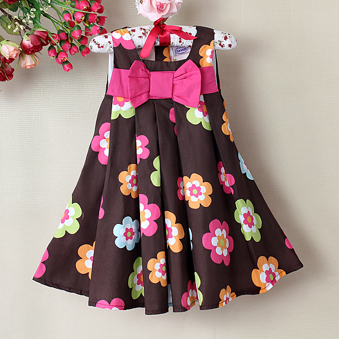 66317f142f639 Detail Feedback Questions about New Baby Girl Dresses Color Brown Plaid  Floral Print Princess summer dress girls dresses Baby Wear Free shipping on  ...