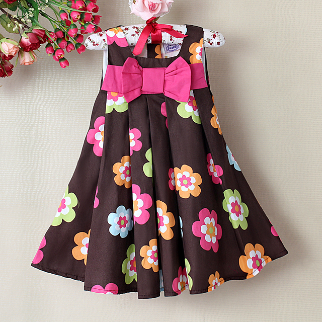 New Baby Girl Dresses Color Brown Plaid Floral Print Princess summer dress girls dresses Baby Wear Free shipping