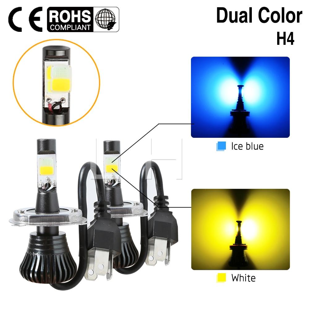 2x H4 9003 HB2 Dual Color Ice Blue Yellow 80W LED Fog Light Bulb 10000LM Hi/Lo Beam