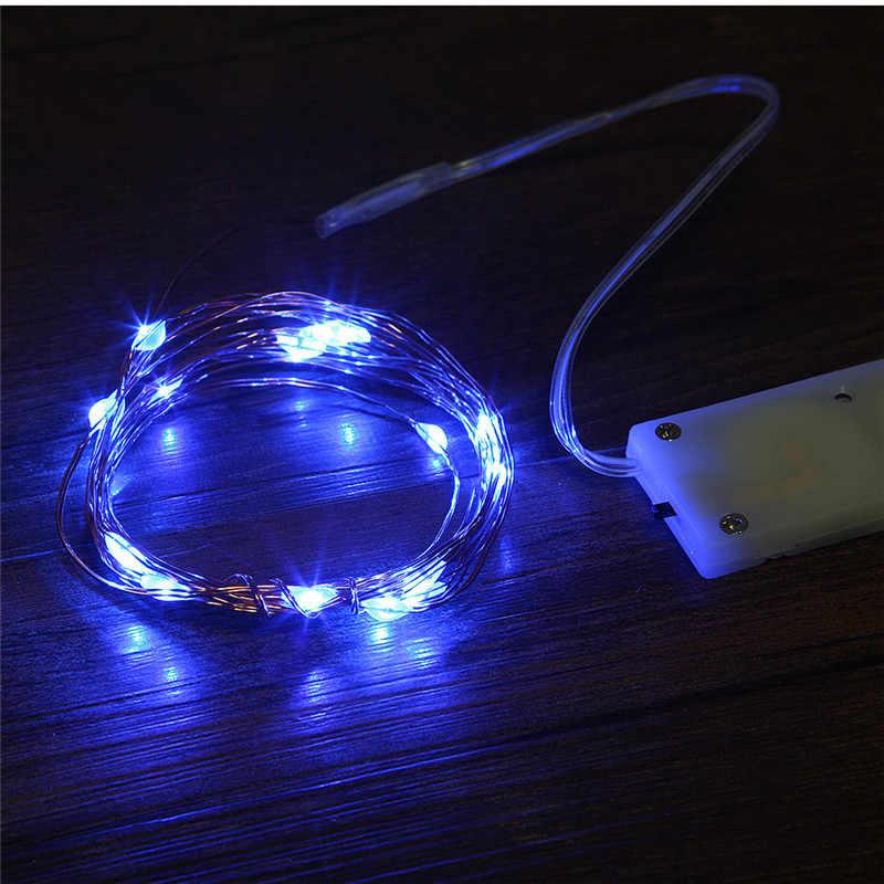 נחושת Led פיית אורות 1 M 2 M נוריות CR2032 כפתור סוללה מופעל זר LED מחרוזת אור חג המולד מסיבת חתונה קישוט