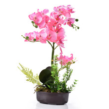 1pcs 42cm Small Artificial Bonsai Simulation Flowers with Ceramic Flower Pot for Home Living Room Courtyard Decor Silk Plants