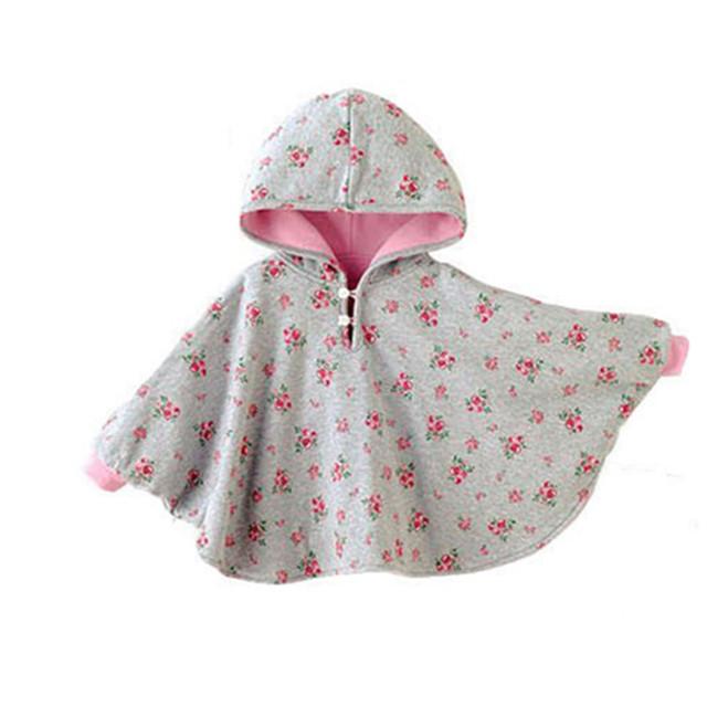 Nueva Fleece Abrigo de Invierno Bebé Bebé Capa Doble cara Outwear Floral Bebé Poncho Infantil Niño Niñas Chaqueta de Los Niños Calientes ropa