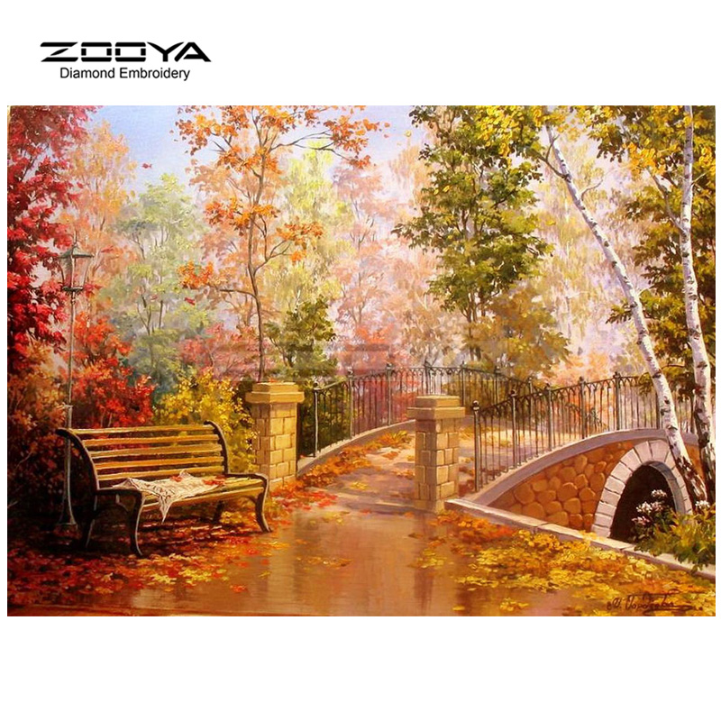 ZOOYA Diamond Embroidery 5D DIY Diamond Painting Forest Tree Bridge Bench Diamond Painting Cross Stitch Rhinestone Mosaic BJ1802