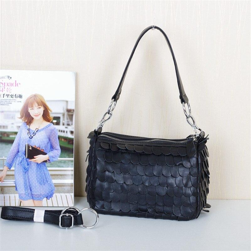 ФОТО Caerlif  Women Leather Handbags Shoulder Crossbody Bags Genuine Leather Bag ladies tote bag black Sheepskin splicing tassel bag
