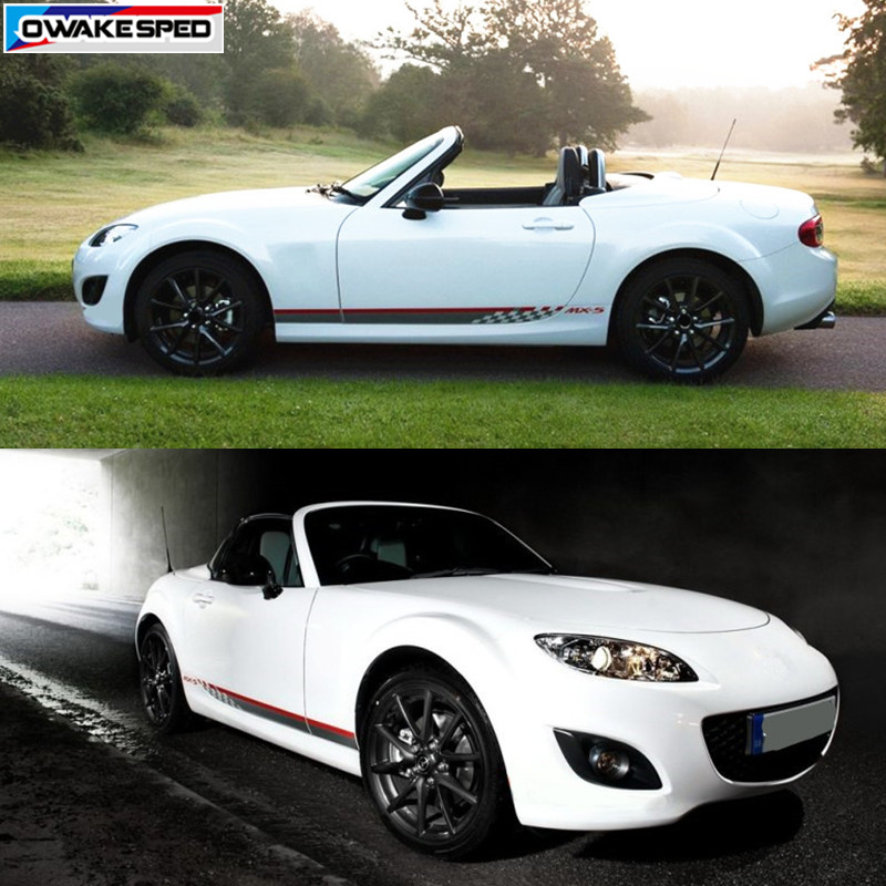 US $17 49 30% OFF|For Mazda MX 5 Racing Lattices Graphics Side Skirt  Stripes Car Styling Door Decor Sticker Auto Body Customized Vinyl Decal-in  Car