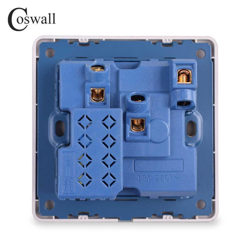 Coswall ścienne gniazdo zasilające 13A UK standardowe gniazdo przełączające 2.1A podwójny port usb szybki port ładowarki wskaźnik LED złoty Panel szczotkowany