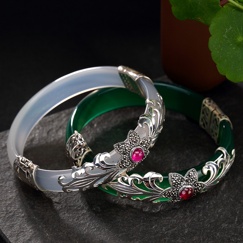 LouLeur 925 sterling silver jade bangles silver green white handmade natural jade bangles fashion jewelry for