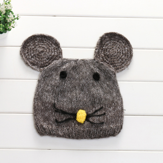 best value store best online US $5.67 10% OFF|Novelty Baby Hat Soft Winter Warm Knitted Hats Adorable  Mouse Design Tollder Crochet Cap Bebe Boy Girl Cartoon Beanie Photo Prop-in  ...