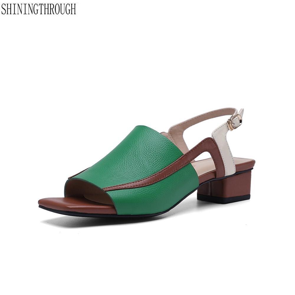 Summer Women Genuine Leather Sandals Vintage Ladies low heels Sandials back Strap Fashion Casual Platforms Soft