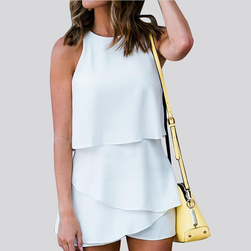Summer Playsuits 2018 Sleeveless Round Neck Ladies Jumpsuits Solid Color Office Ladies Playsuits WS8913E
