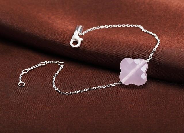 Fashion  Four Leaf Clover Crystal Bracelet 925 Sterling Silver Bracelet  For Brithday Gift  PK021
