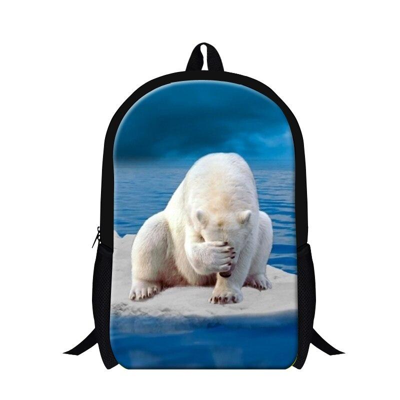 Новый дизайн полярный медведь печати студенческие рюкзаки для девочек-подростков, милые животные Школа BookBag, легкий Рюкзак для детей
