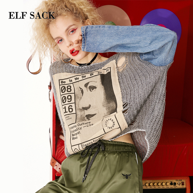 ELF SACK 2019 New Woman Sweater Casual O-Neck Denim Patchwork Full Tops Women Pullovers Streetwear Hand Knitted Femme Sweaters