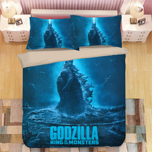 Godzilla Gojira 3D bedding set Duvet Covers Pillowcases Cartoon anime Monster comforter bedding sets bedclothes bed linen(China)