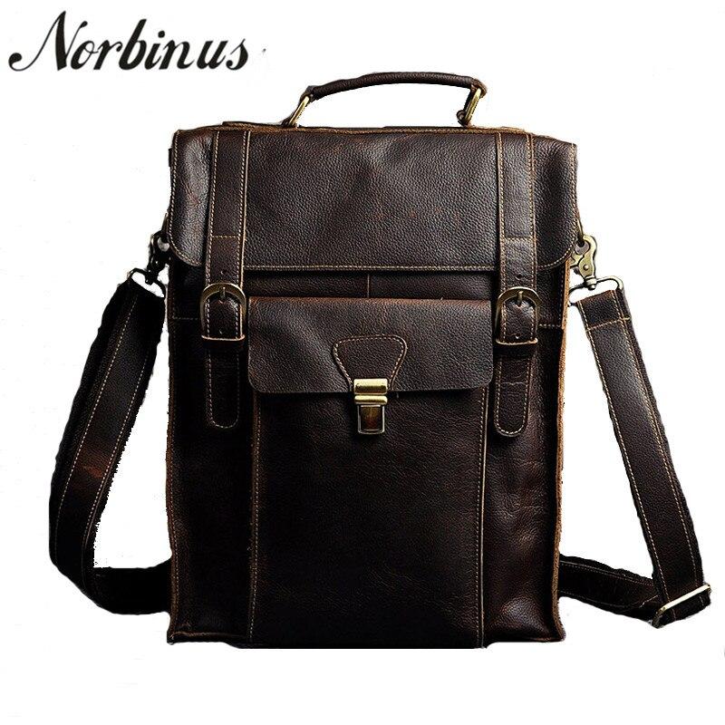 Norbinus Men's Backpacks Genuine Leather Shoulder Bag Male Laptop Computer Backpack School Bags for Teenager Boys Travel Bag цена 2017