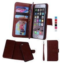 Lancase для iphone 5S Чехол Съемный Многофункциональный 9 Слот для карты Бумажник кожаный чехол для Coque iPhone 5S SE 6 6 S плюс 7 7 Plus