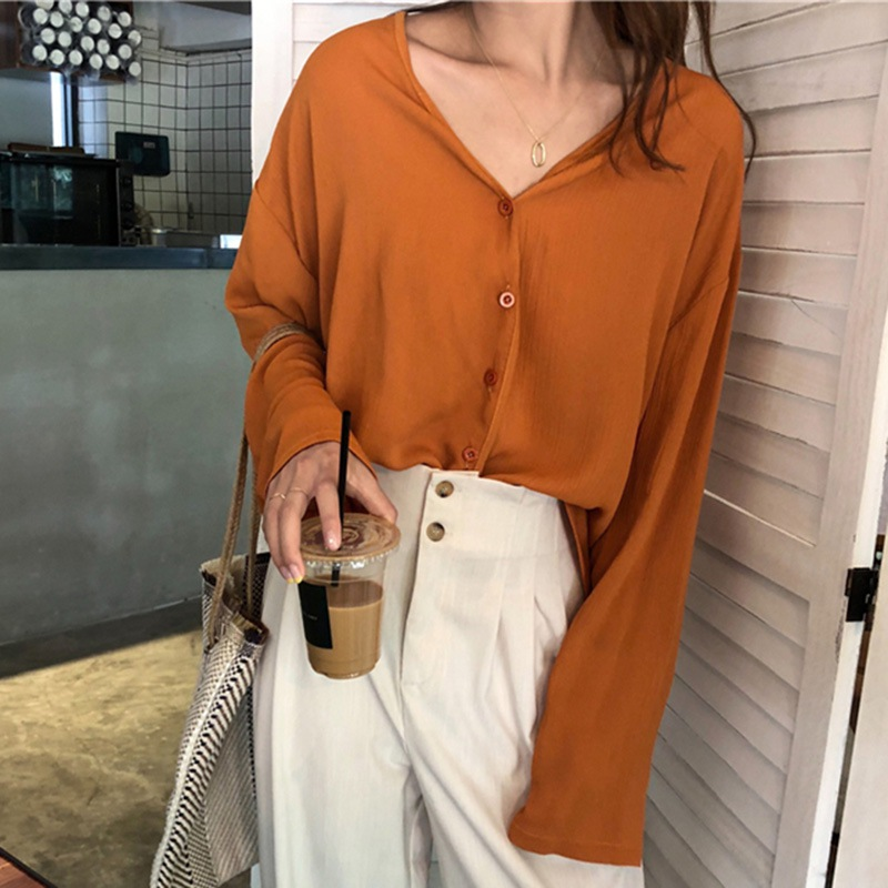 Korean Style Women Fashion Solid Shirts Women Autumn Casual Chiffon Blouses Female Loose Tops Long Sleeve V Neck Blouses 1X