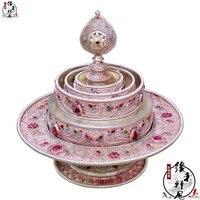 Nepal/White copper delicate brushed stone mandala plate
