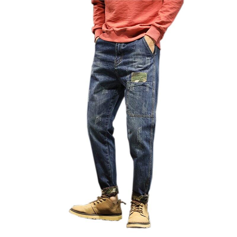 2018 Mens jeans high street denim Biker jeans hiphop pants Washed black jeans men blue loose casual harem pants men plus size 42