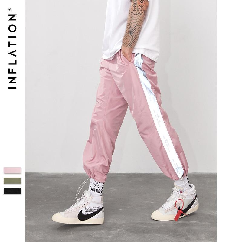 INFLAZIONE Lato Riflettono La luce nastro jogger pantaloni Sportswear Vintage Pantaloni 2018 di Nuovo Modo di Casual Pantaloni Abbigliamento di Marca 8880 w