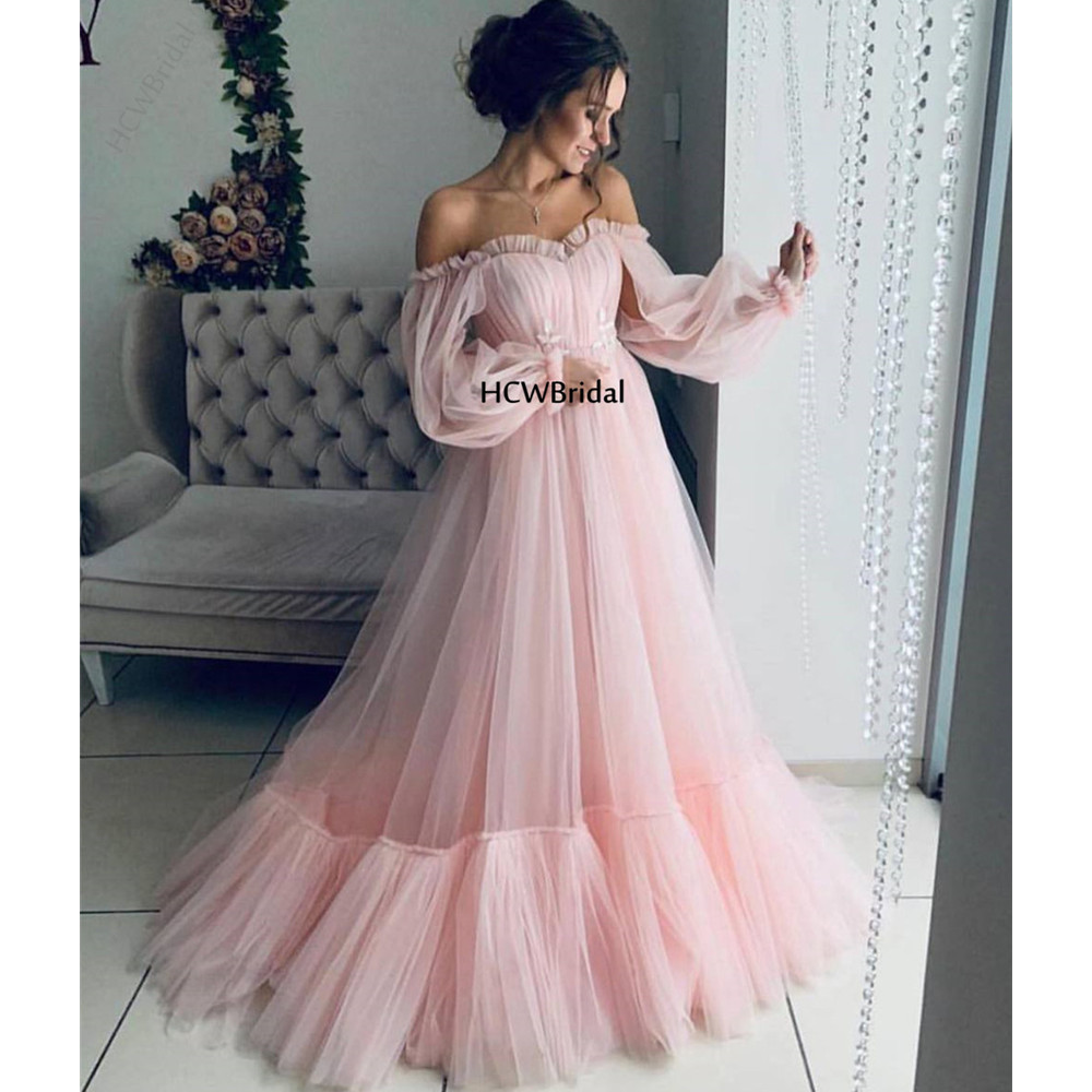 Graceful Pink Long Sleeve Arabic   Evening     Dress   Off The Shoulder Tulle A Line Floor Length Elegant Formal Occasion Women   Dresses