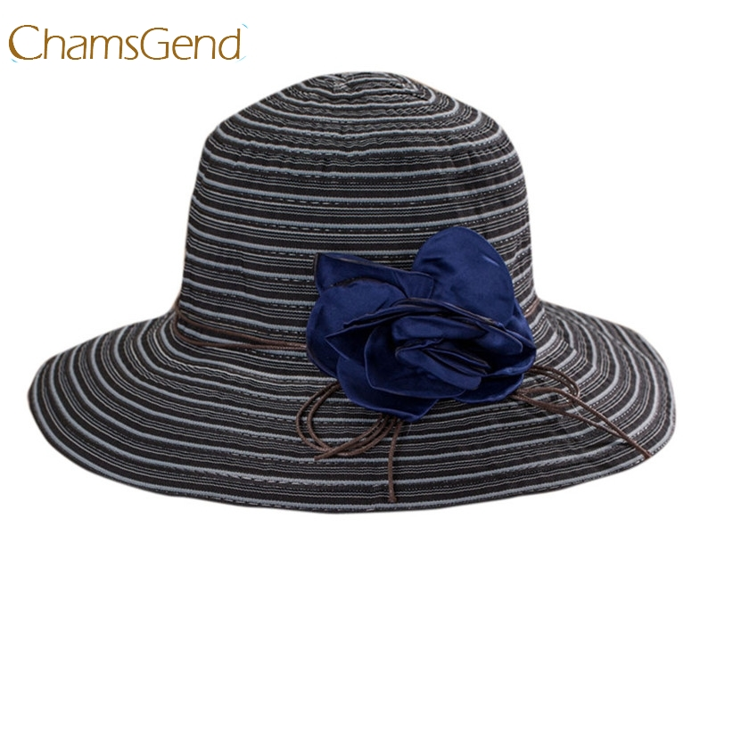 507423f366401 Chamsgend Newly Design Women Fashion Foldable Striped Summer Wide Brim Sun  Hat Beach Boho Cap with Flower 170531-in Sun Hats from Women s Clothing ...
