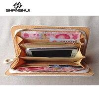 SHANSHUI New Original Classic Lady Long Wallet Handmade Ink Bamboo Wallet Multi Card Wallet Card Package