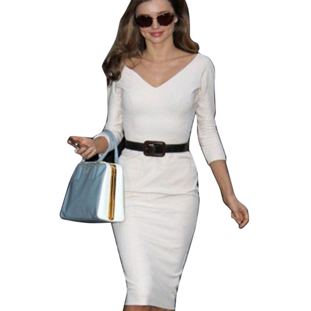 New Fashion Noble Business V-Neck Back Zipper Prom Party Sexy Cotton Selling Stretch Bodycon Pencil Women Dresses Free Shipping