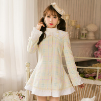 Princess sweet lolita plaid dress Candy rain Bow lace decoration A line Lapel collar Flower nail Japanese design C16CD6195