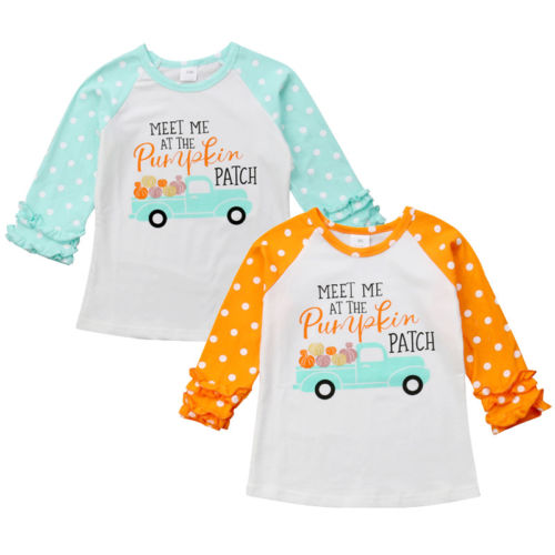 New Halloween Baby Girls Pumpkin Letter Print T-Shirt Tops Long Petal Sleeve Polka Dot Fashion Tops Casual Cotton Clothes splatter paint dot print long sleeve shirt