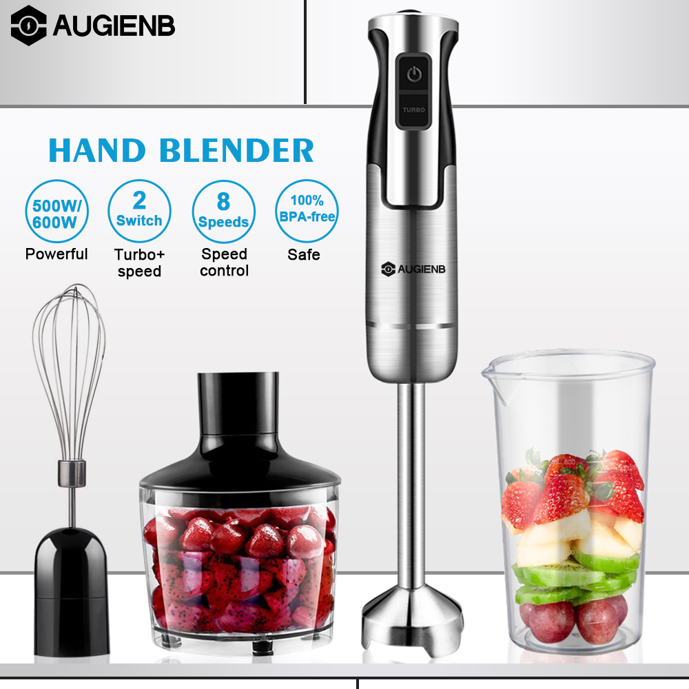 Augienb 600W 8 speed Immersion Hand Blender Portable Juicer Mixer for Kitchen Food Meat Fruit with Chopper Whisk