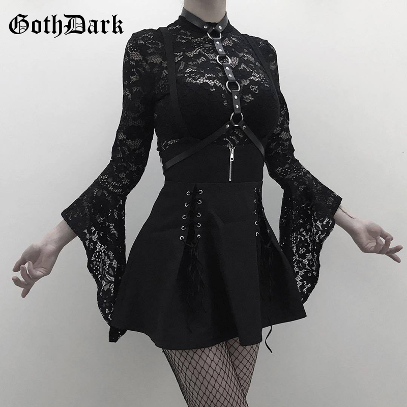 Goth Dark lace flare long sleeve bodysuit women hollow out overalls and skirt lace up zipper black harajuku 2 pcs set streetwear