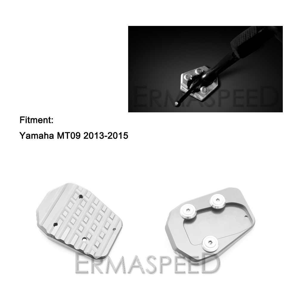 Motocicleta CNC Alumínio Placa Kickstand Descanso Lateral Ampliador Ampliar MT09 Extensão Pad Modificado Peças para Yamaha 2013 2014 2015