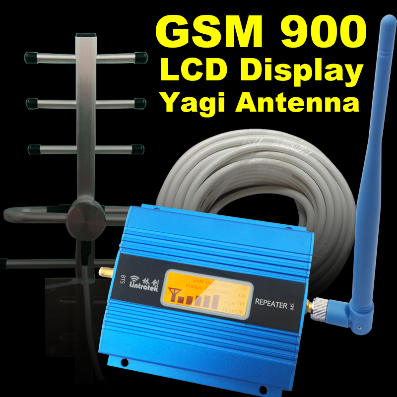 LCD Display 2G GSM 900Mhz Mobile Phone Cellular Signal Booster GSM 900 Signal Repeater Cell Phone Amplifier Antenna Set Home 41
