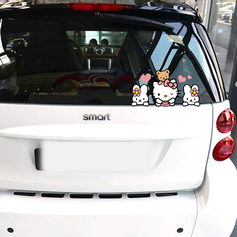 Aliauto автомобиль-Стайлинг смешно Hello KITY выглядывает мультфильм автомобиль Стикеры и этикета для bmw ford focus Volkswagen Мужские поло Skoda mercedes Kia