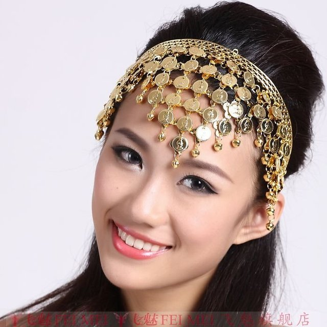 Luxurious Belly Dance Headpiece Headband Coins Tribal Ethnic Gypsy Arabian Jewelly