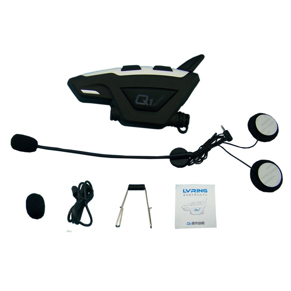 Q1 1PC Motorcycle Helmet Bluetooth Headset Wireless Intercom BT Wireless Intercomunicador Interphone Headset MP3