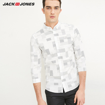 Jack & Jones Brand 2018 NEW COTTON punk style plaid male slim sailor collar three quarter sleeves casual shirts| 216231509 Casual Shirts