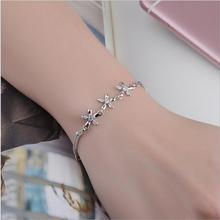 LUKENI New Fashion 925 Sterling Silver Women Bracelets Jewelry Shiny Crystal Flower Girl Anklets Accessories Lady Lovers Gift