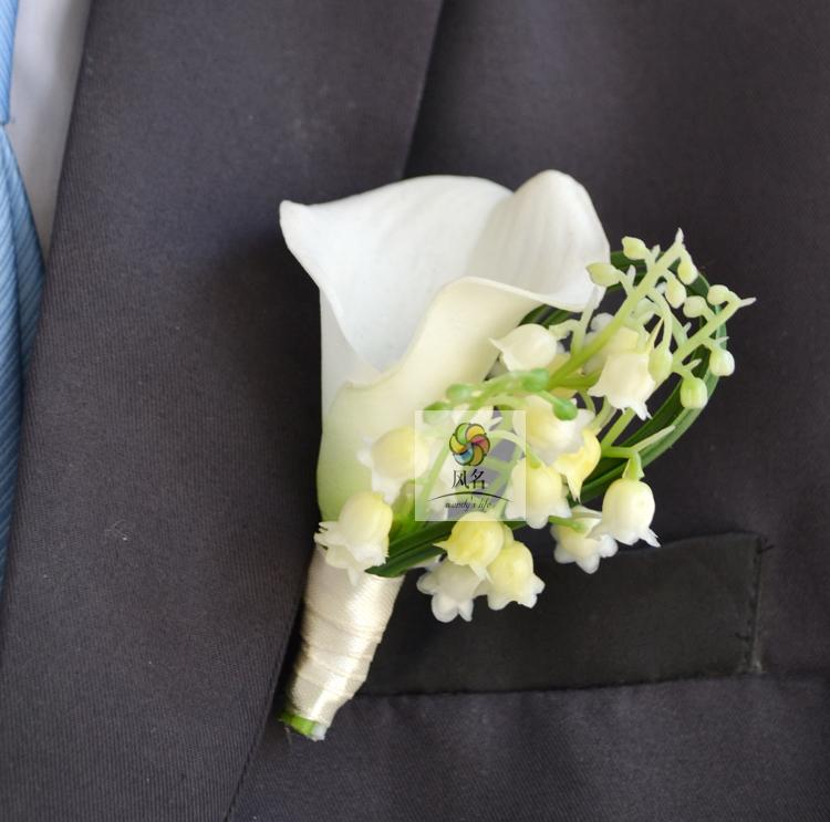Real Touch White Calla Lily Wedding Boutonniere Artificial Groom Groomsman Brooch Pin Man Flowe Girl Bride Wrist Corsage Prom