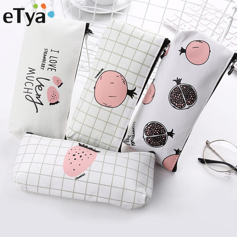 ETya Ladies Zipper Cosmetic Cases Cartoon Fruit  Women Cosmetic Bag Small Storage Bag Coin Pouch Makeup Student Pencil Case