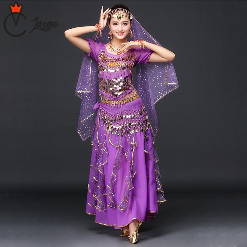 2018 Women Dancewear Sari Belly Dance Costume Set 4pcs Bollywood Indian Dance Costumes Indian Skirt Outfits
