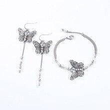 ZWPON 2019 Vintage Silver Butterfly Earrings for Women Link Chain Beaded Line Tassel Jewelry Wholesale