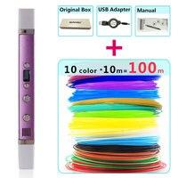 Myriwell 3d Pens 10 10m ABS Filament LED Display USB Charging Creative 3 D Pen3d Model