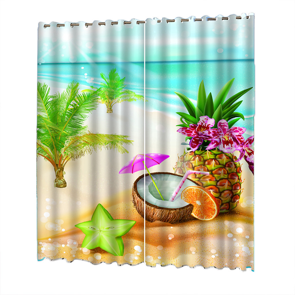 Beach Curtain Tulle Door Window Series Printed 132x215cm  Curtains Living Room Bedroom Blackout Curtains Cortinas Estampadas
