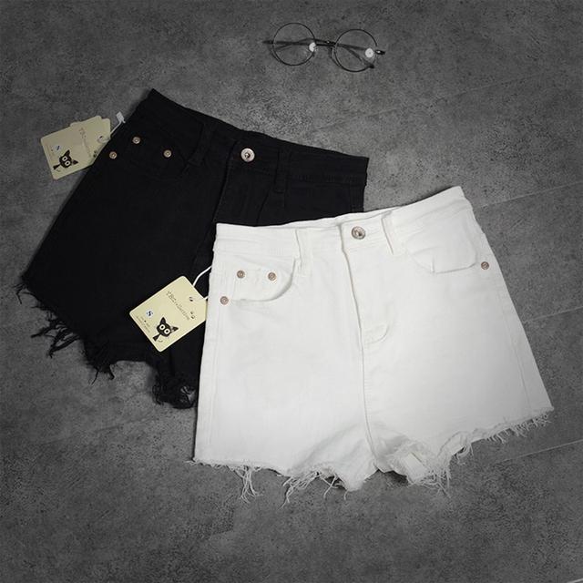 Mujeres Del Estilo Pantalones Vaqueros cortos de Verano 2016 Nuevos Pantalones Cortos de Algodón de Moda Femenina Borla Ocasional Delgado de Cintura Alta Pantalones Cortos de Mezclilla