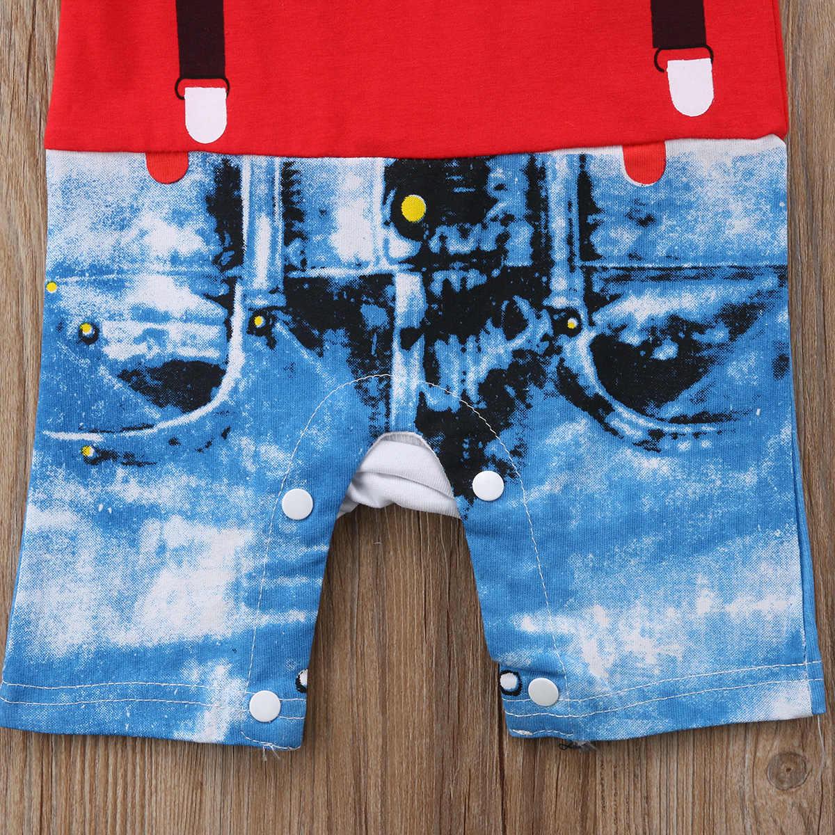 2019 nueva moda lindo Casual de algodón de manga corta rojo y blanco tie denim Bebé niños pantalones cortos traje de escalada monos verano