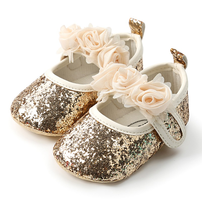 Fashion Sequins Lace Flower Baby Girl First Walker Anti-slip Soft Sole Bottom Walking Princess Shoes