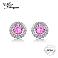 JewelryPalace Round 1 4ct Created Pink Sapphire Real 925 Sterling Silver Stud Earrings Classic Fine Jewelry